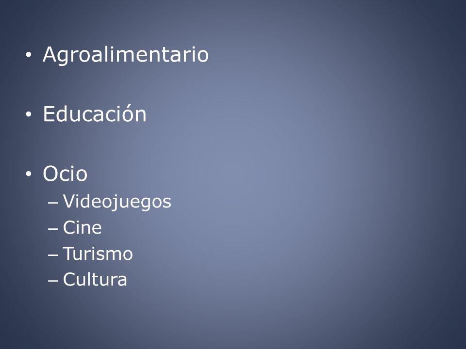 Agroalimentario Educación Ocio – Videojuegos – Cine – Turismo – Cultura