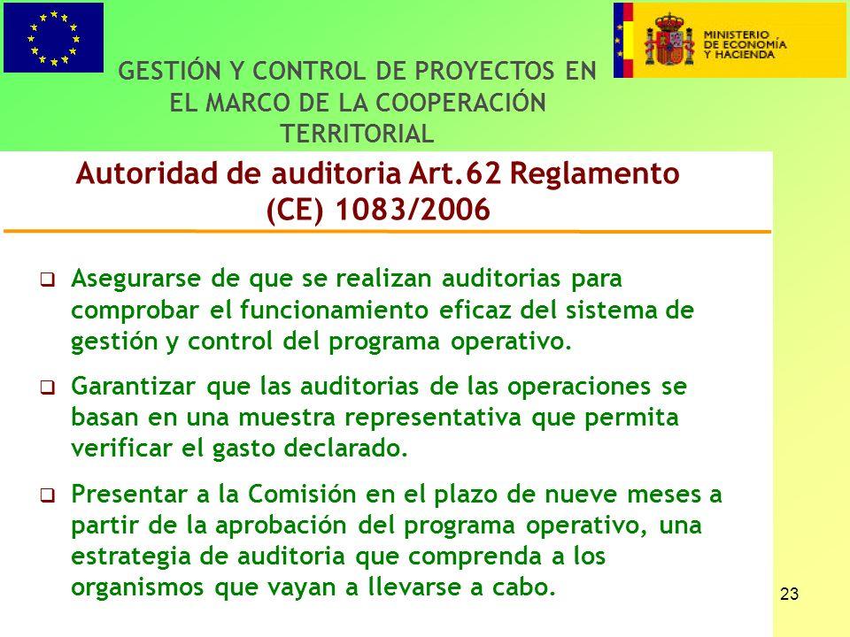 23 Autoridad de auditoria Art.62 Reglamento (CE) 1083/2006 GESTIÓN Y CONTROL DE PROYECTOS EN EL MARCO DE LA COOPERACIÓN TERRITORIAL Asegurarse de que se realizan auditorias para comprobar el funcionamiento eficaz del sistema de gestión y control del programa operativo.