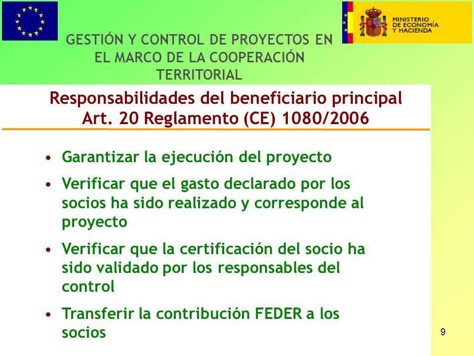 9 Responsabilidades del beneficiario principal Art.