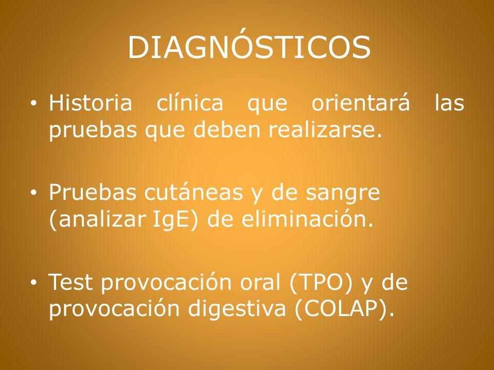 DIAGNÓSTICOS Historia clínica que orientará las pruebas que deben realizarse.