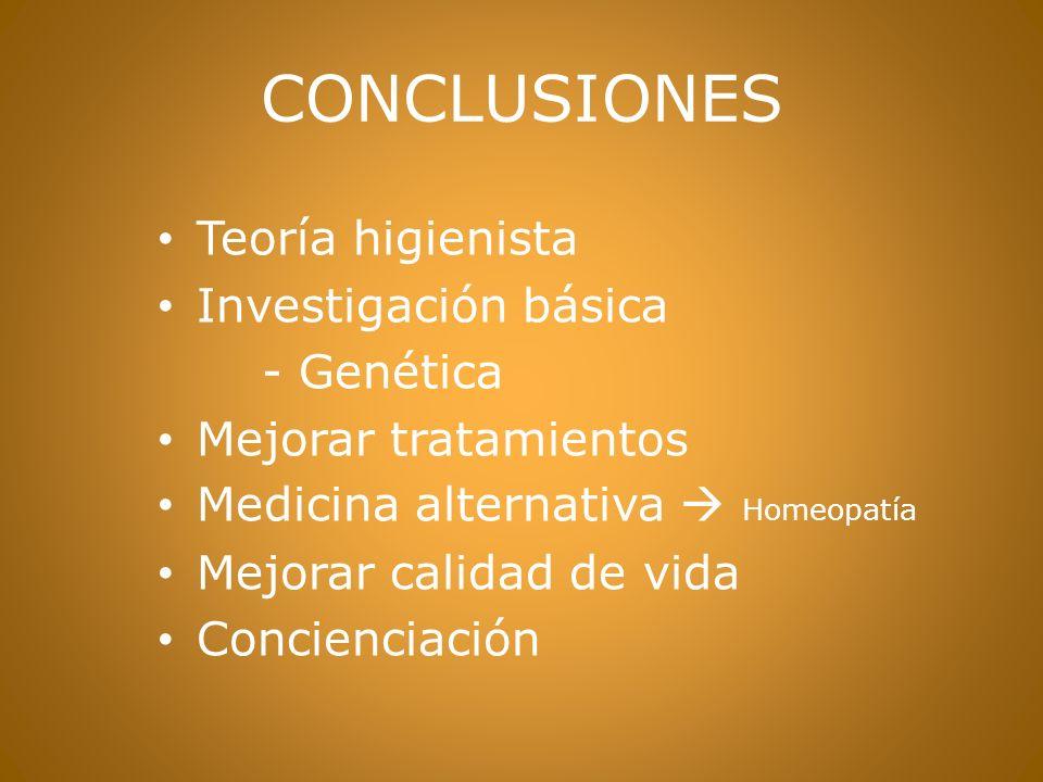 CONCLUSIONES Teoría higienista Investigación básica - Genética Mejorar tratamientos Medicina alternativa Homeopatía Mejorar calidad de vida Concienciación