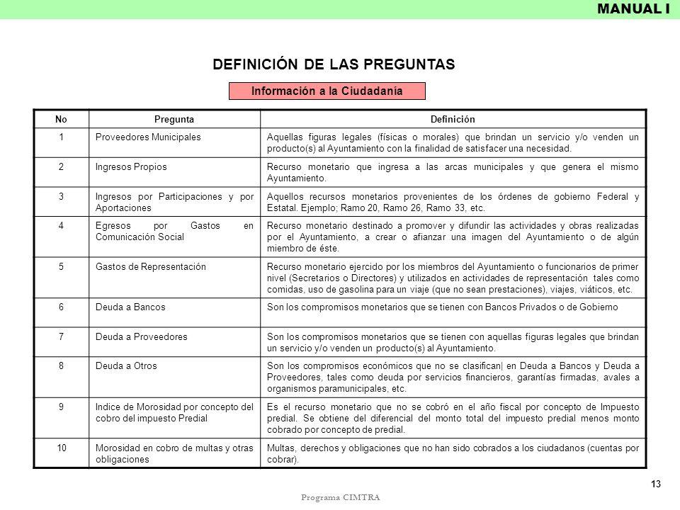 Programa CIMTRA MANUAL I DEFINICIÓN DE LAS PREGUNTAS NoPreguntaDefinición 1Proveedores MunicipalesAquellas figuras legales (físicas o morales) que bri