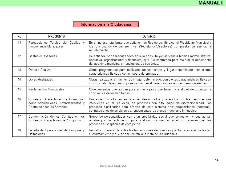Programa CIMTRA MANUAL I NoPREGUNTADefinición 11Percepciones Totales del Cabildo y Funcionarios Municipales Es el ingreso total bruto que obtienen los