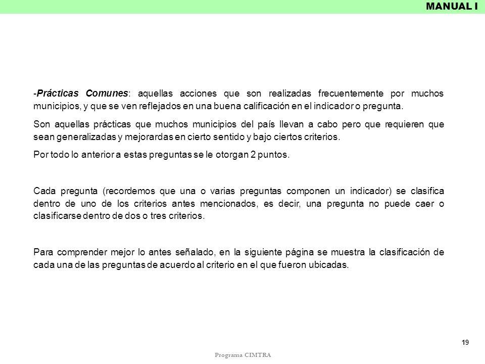Programa CIMTRA MANUAL I -Prácticas Comunes: aquellas acciones que son realizadas frecuentemente por muchos municipios, y que se ven reflejados en una