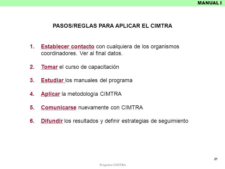 Programa CIMTRA MANUAL I PASOS/REGLAS PARA APLICAR EL CIMTRA 1.Establecer contacto con cualquiera de los organismos coordinadores. Ver al final datos.