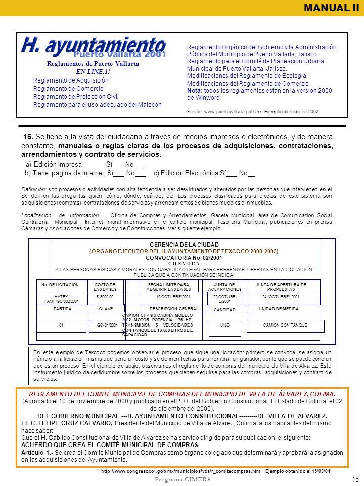 Programa CIMTRA MANUAL II 15 Reglamento Orgánico del Gobierno y la Administración Pública del Municipio de Puerto Vallarta, Jalisco. Reglamento para e