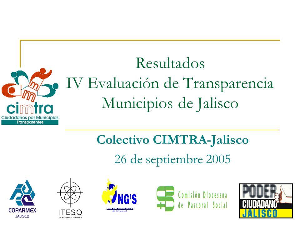 Resultados IV Evaluación de Transparencia Municipios de Jalisco Colectivo CIMTRA-Jalisco 26 de septiembre 2005 Consejo Técnico de ONGS de Jalisco A.C.
