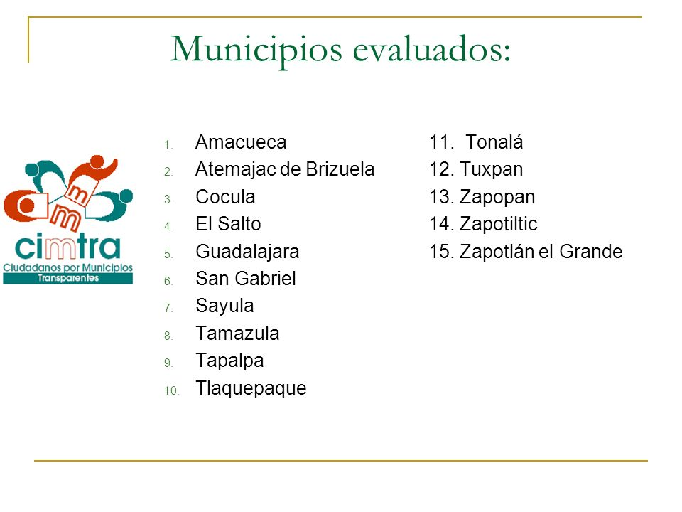 Municipios evaluados: 1. Amacueca 2. Atemajac de Brizuela 3. Cocula 4. El Salto 5. Guadalajara 6. San Gabriel 7. Sayula 8. Tamazula 9. Tapalpa 10. Tla