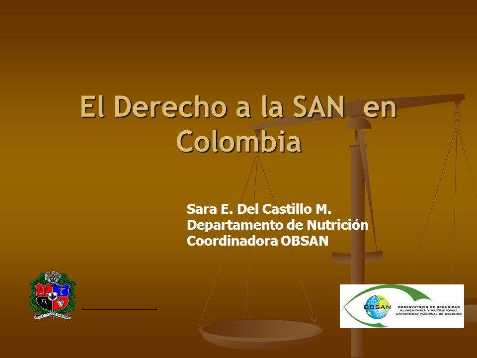 El Derecho a la SAN en Colombia Sara E.Del Castillo M.