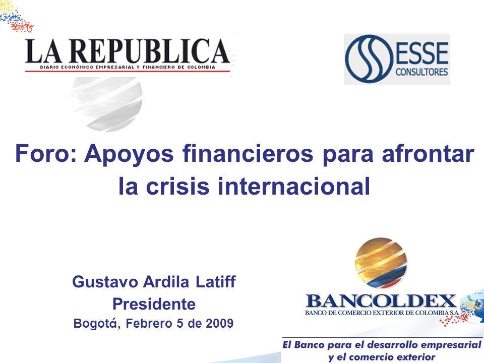 Gustavo Ardila Latiff Presidente Bogot á, Febrero 5 de 2009 Foro: Apoyos financieros para afrontar la crisis internacional