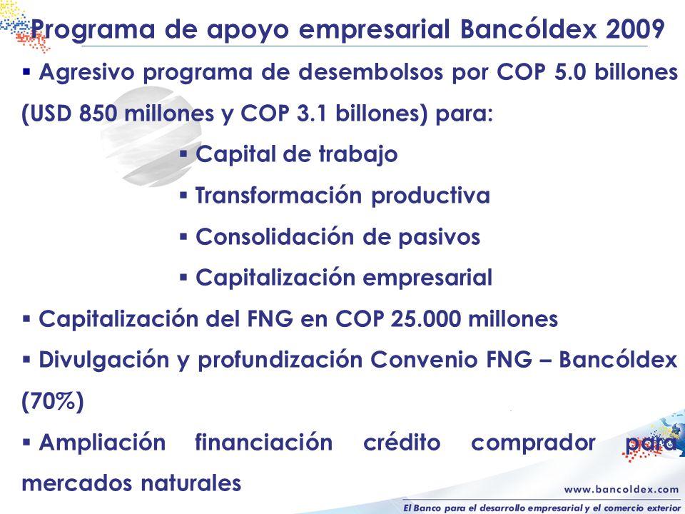 Programa de apoyo empresarial Bancóldex 2009 Agresivo programa de desembolsos por COP 5.0 billones (USD 850 millones y COP 3.1 billones) para: Capital