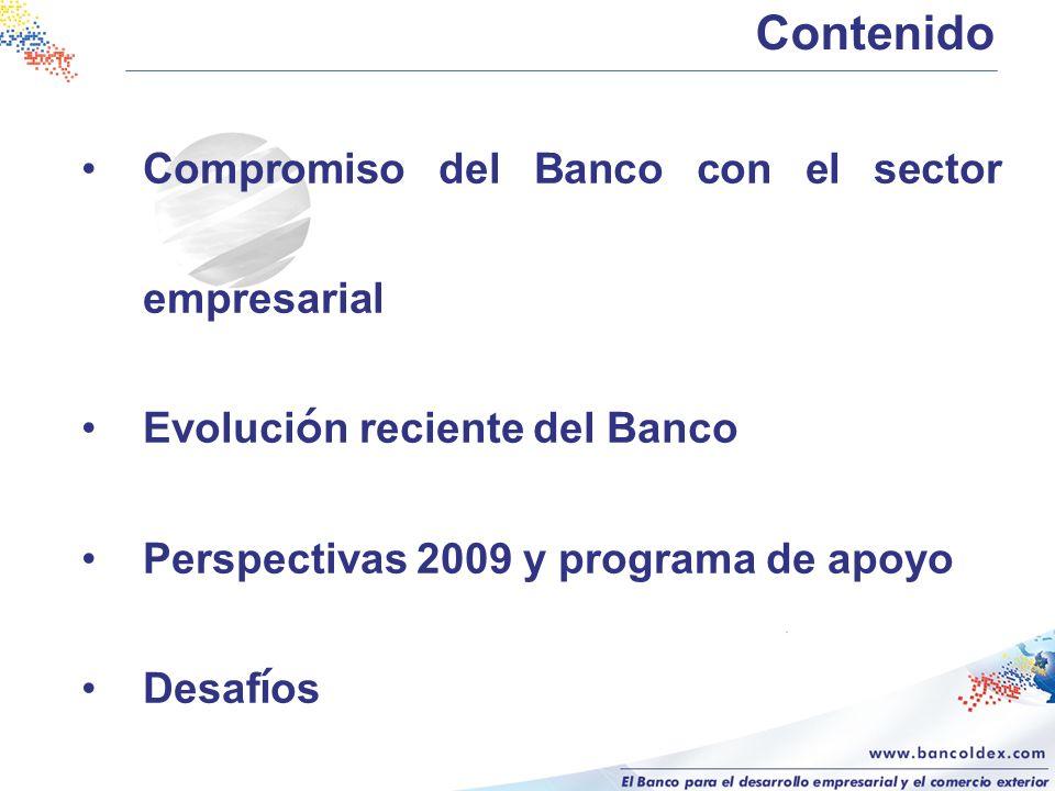 Compromiso del Banco con el sector empresarial Evoluci ó n reciente del Banco Perspectivas 2009 y programa de apoyo Desaf í os Contenido