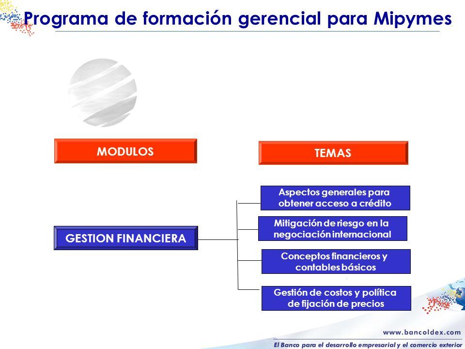 GESTION FINANCIERA Conceptos financieros y contables básicos Gestión de costos y política de fijación de precios Aspectos generales para obtener acces