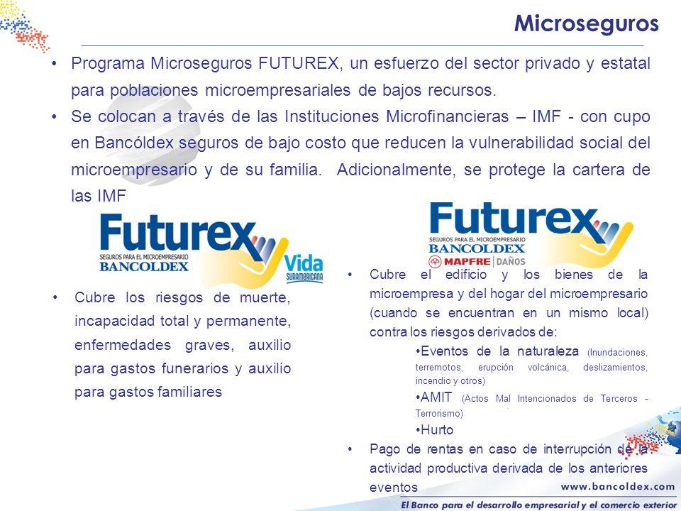 Programa Microseguros FUTUREX, un esfuerzo del sector privado y estatal para poblaciones microempresariales de bajos recursos. Se colocan a través de
