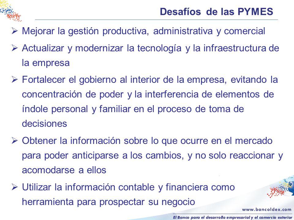 Desafíos de las PYMES Mejorar la gestión productiva, administrativa y comercial Actualizar y modernizar la tecnología y la infraestructura de la empre