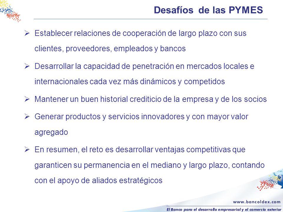 Desafíos de las PYMES Establecer relaciones de cooperación de largo plazo con sus clientes, proveedores, empleados y bancos Desarrollar la capacidad d