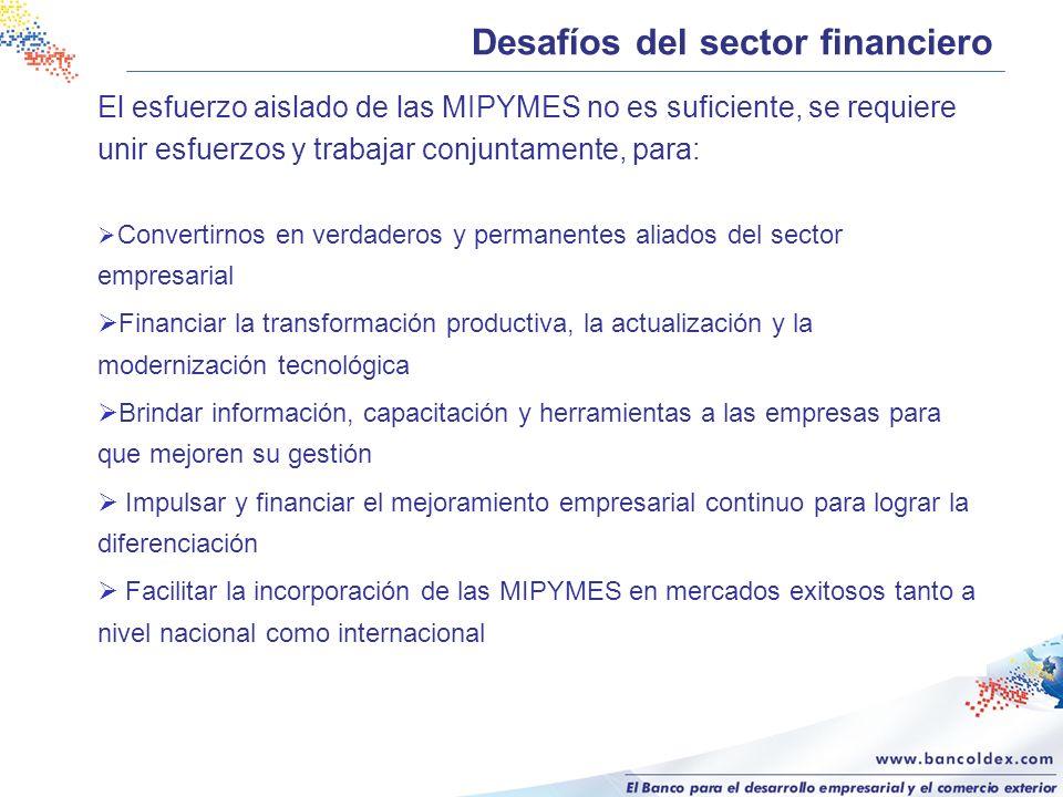 Desafíos del sector financiero El esfuerzo aislado de las MIPYMES no es suficiente, se requiere unir esfuerzos y trabajar conjuntamente, para: Convert