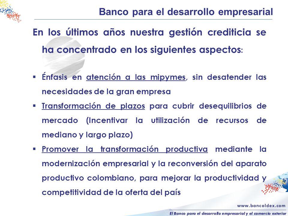 En los últimos años nuestra gestión crediticia se ha concentrado en los siguientes aspectos : Énfasis en atención a las mipymes, sin desatender las ne