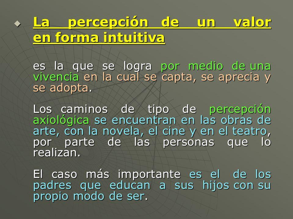 La percepción de un valor La percepción de un valor en forma intuitiva es la que se logra por medio de una vivencia en la cual se capta, se aprecia y