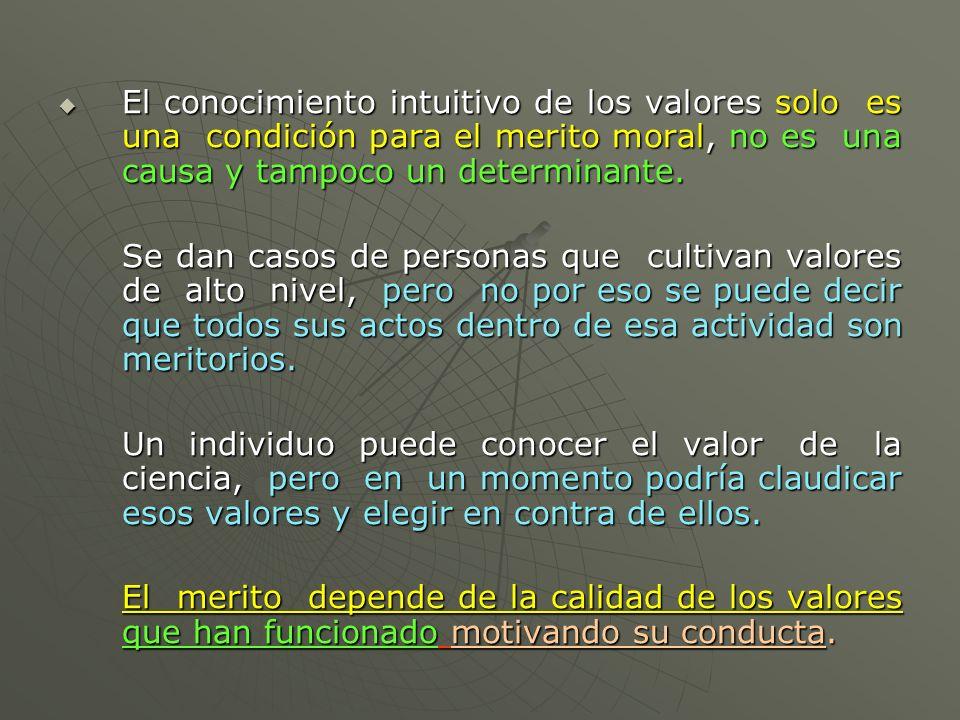 El conocimiento intuitivo de los valores solo es una condición para el merito moral, no es una causa y tampoco un determinante. El conocimiento intuit