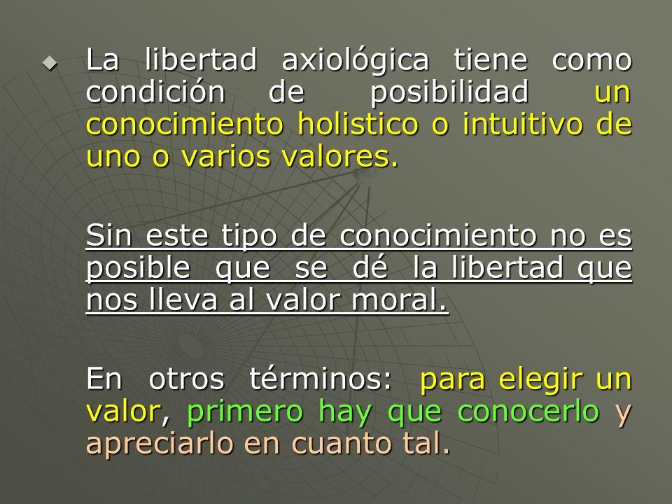 La libertad axiológica tiene como condición de posibilidad un conocimiento holistico o intuitivo de uno o varios valores. La libertad axiológica tiene