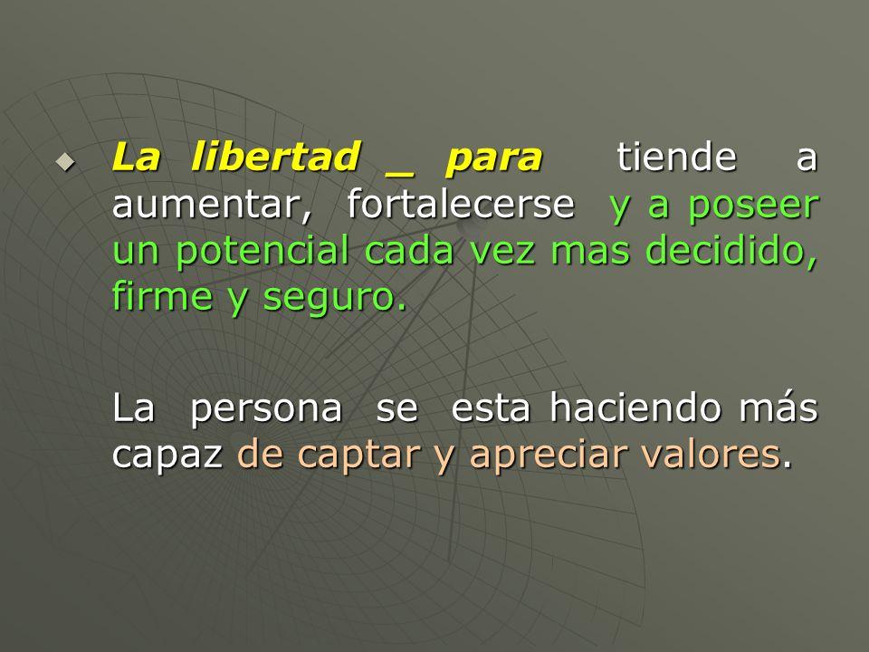 La libertad _ para tiende a aumentar, fortalecerse y a poseer un potencial cada vez mas decidido, firme y seguro. La libertad _ para tiende a aumentar