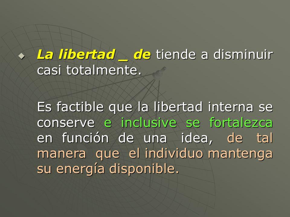 La libertad _ de tiende a disminuir casi totalmente. La libertad _ de tiende a disminuir casi totalmente. Es factible que la libertad interna se conse