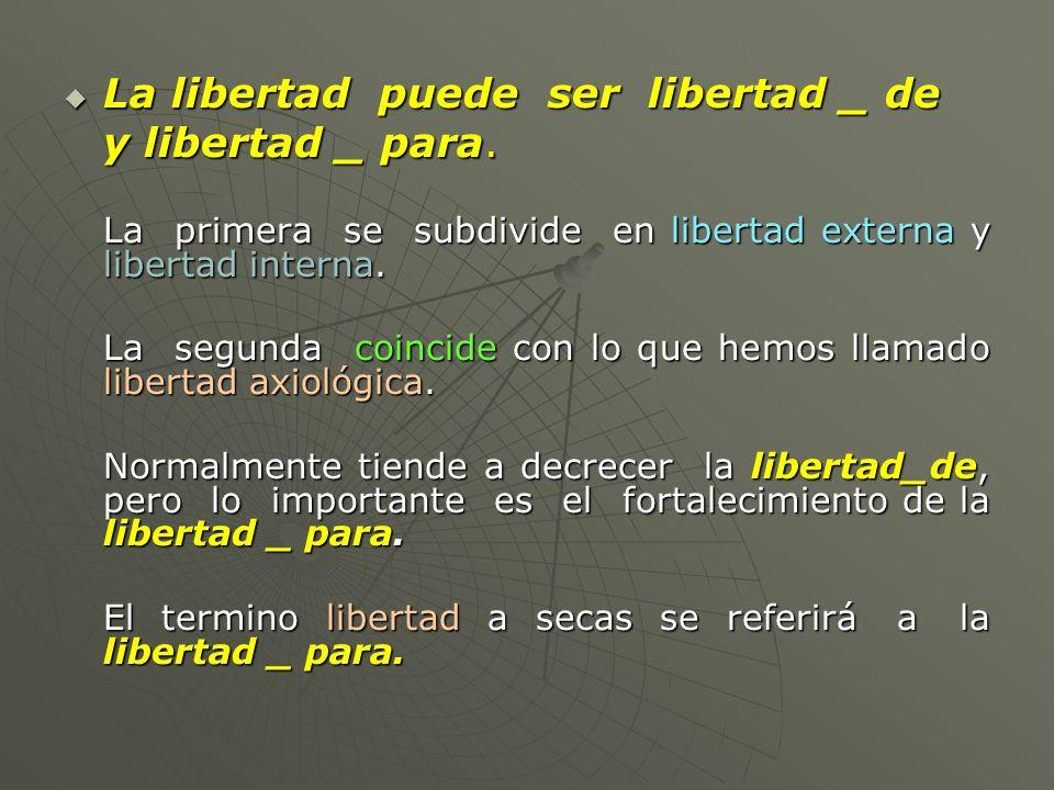 La libertad puede ser libertad _ de La libertad puede ser libertad _ de y libertad _ para. La primera se subdivide en libertad externa y libertad inte