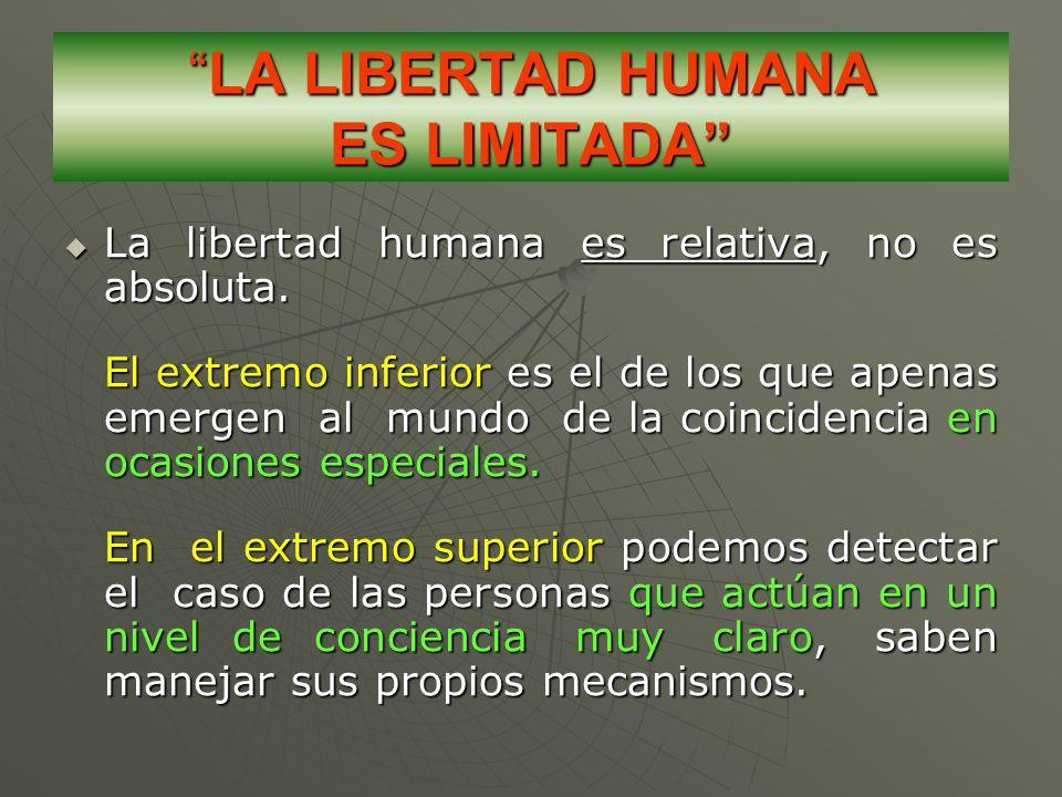 LA LIBERTAD HUMANA ES LIMITADALA LIBERTAD HUMANA ES LIMITADA La libertad humana es relativa, no es absoluta. La libertad humana es relativa, no es abs