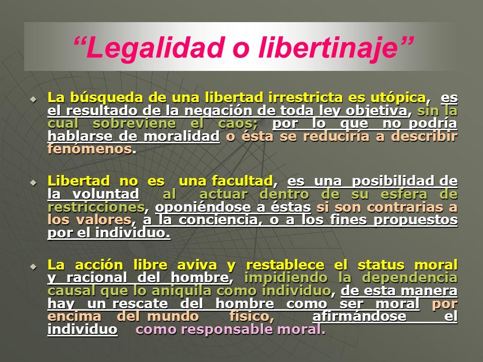 Legalidad o libertinaje La búsqueda de una libertad irrestricta es utópica, es el resultado de la negación de toda ley objetiva, sin la cual sobrevien