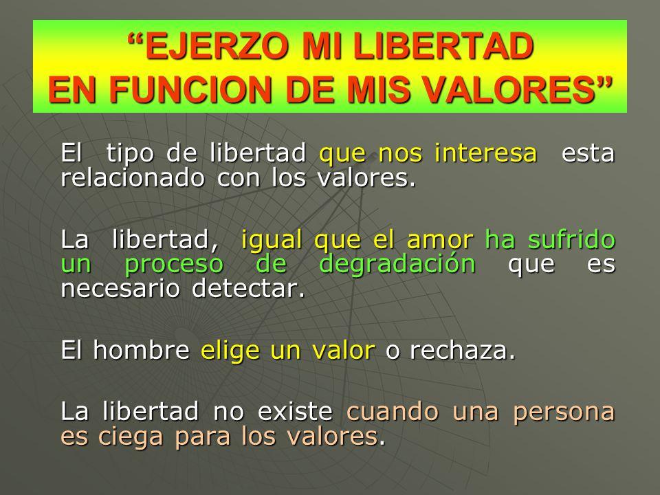 EJERZO MI LIBERTAD EN FUNCION DE MIS VALORES El tipo de libertad que nos interesa esta relacionado con los valores. La libertad, igual que el amor ha