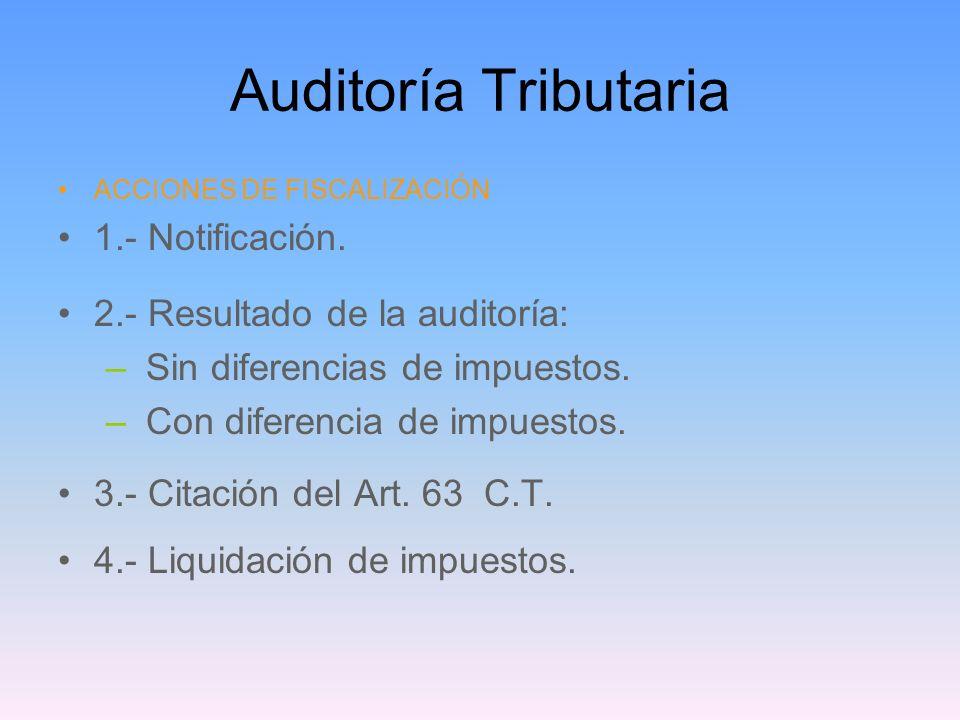 Auditoría Tributaria ACCIONES DE FISCALIZACIÓN 1.- Notificación. 2.- Resultado de la auditoría: – Sin diferencias de impuestos. – Con diferencia de im