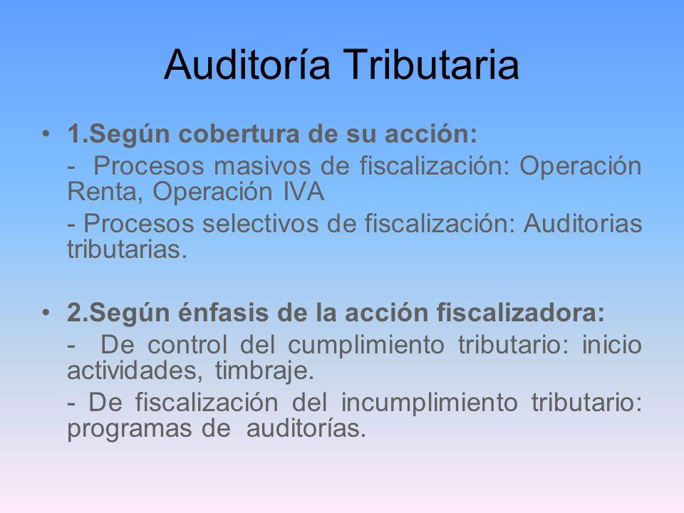 Auditoría Tributaria 1.Según cobertura de su acción: - Procesos masivos de fiscalización: Operación Renta, Operación IVA - Procesos selectivos de fisc