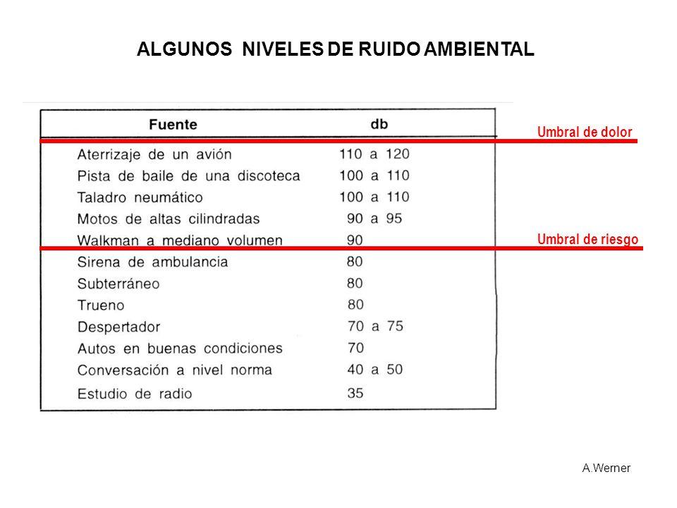Umbral de riesgo Umbral de dolor ALGUNOS NIVELES DE RUIDO AMBIENTAL A.Werner