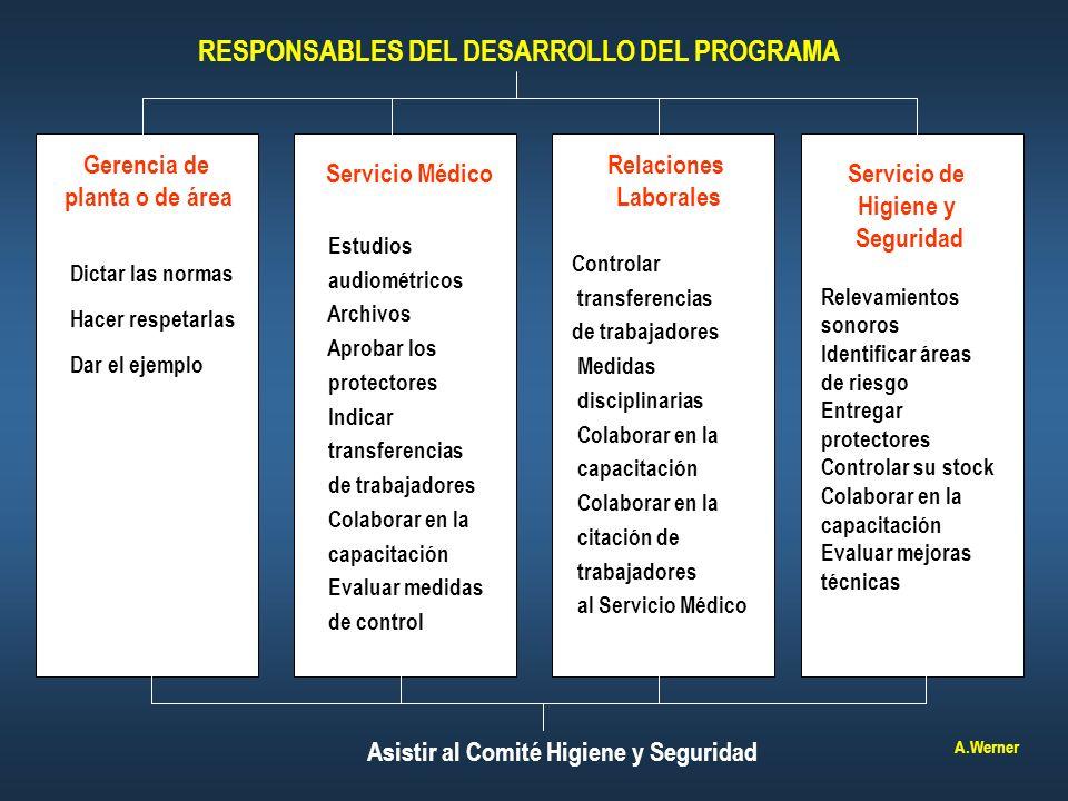 RESPONSABLES DEL DESARROLLO DEL PROGRAMA Servicio Médico Relaciones Laborales Servicio de Higiene y Seguridad Gerencia de planta o de área Dictar las