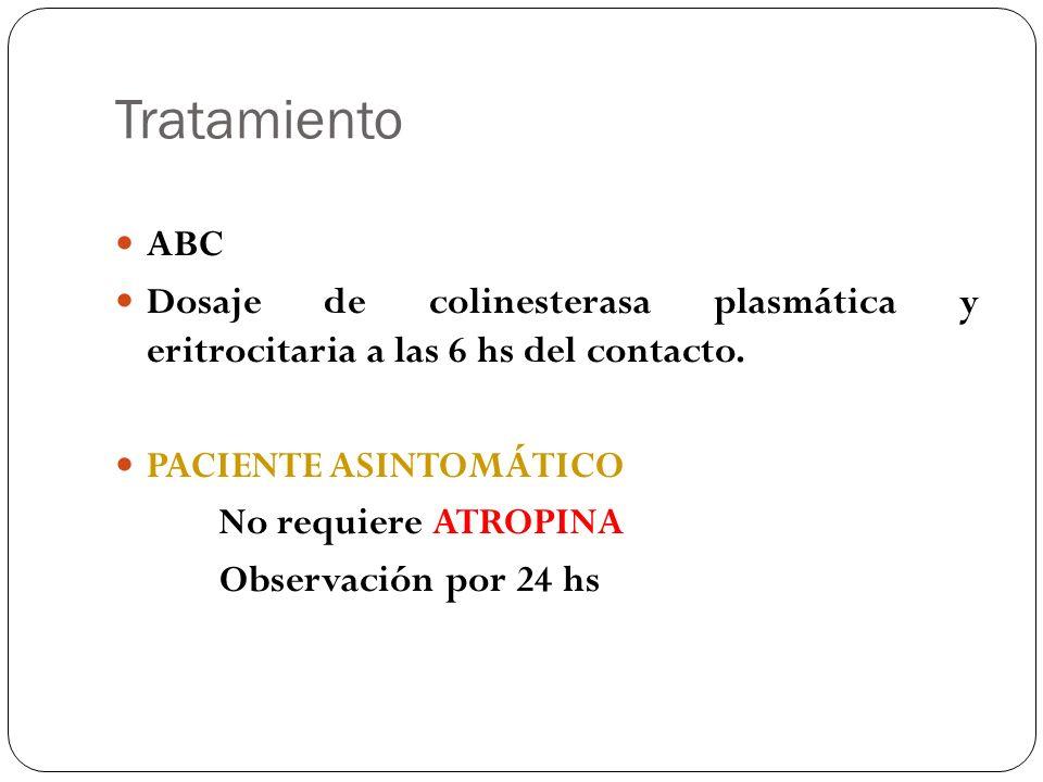 Tratamiento ABC Dosaje de colinesterasa plasmática y eritrocitaria a las 6 hs del contacto. PACIENTE ASINTOMÁTICO No requiere ATROPINA Observación por