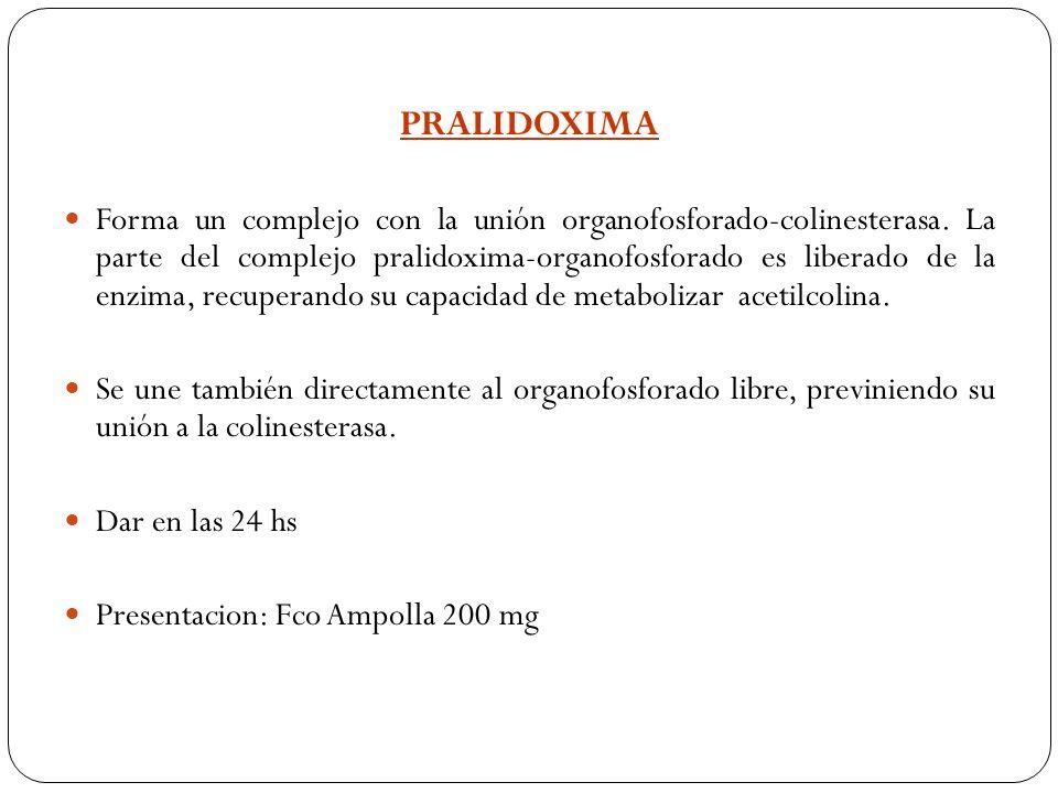 PRALIDOXIMA Forma un complejo con la unión organofosforado-colinesterasa. La parte del complejo pralidoxima-organofosforado es liberado de la enzima,