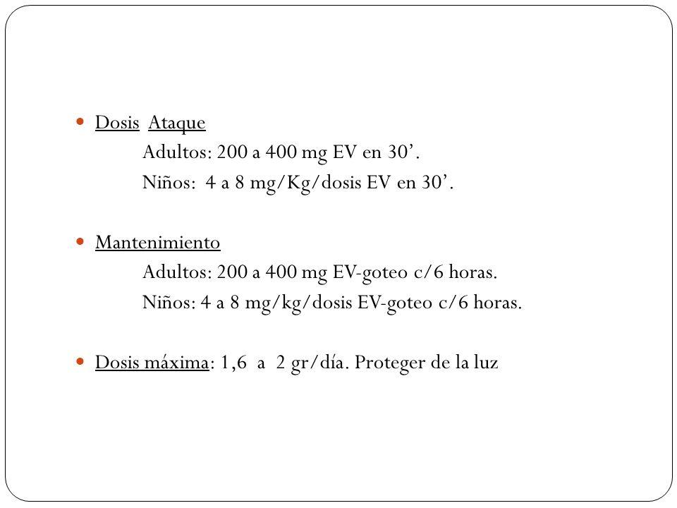 Dosis Ataque Adultos: 200 a 400 mg EV en 30. Niños: 4 a 8 mg/Kg/dosis EV en 30. Mantenimiento Adultos: 200 a 400 mg EV-goteo c/6 horas. Niños: 4 a 8 m