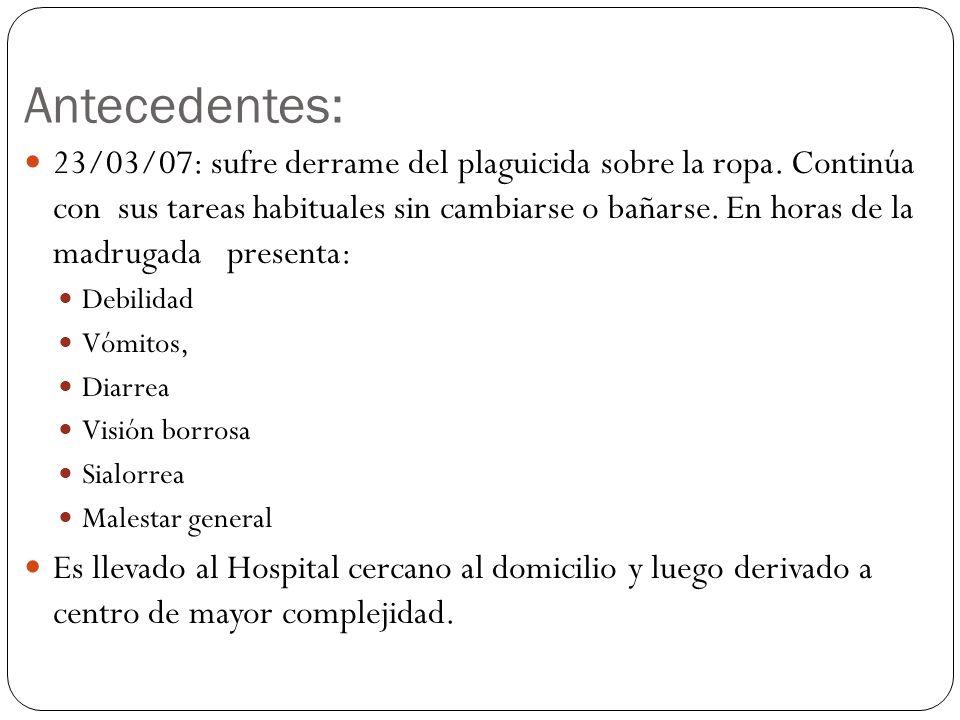 Antecedentes: 23/03/07: sufre derrame del plaguicida sobre la ropa. Continúa con sus tareas habituales sin cambiarse o bañarse. En horas de la madruga