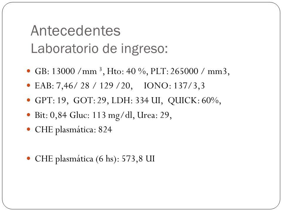 Antecedentes Laboratorio de ingreso: GB: 13000 /mm 3, Hto: 40 %, PLT: 265000 / mm3, EAB: 7,46/ 28 / 129 /20, IONO: 137/3,3 GPT: 19, GOT: 29, LDH: 334