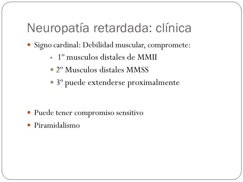Neuropatía retardada: clínica Signo cardinal: Debilidad muscular, compromete: 1º musculos distales de MMII 2º Musculos distales MMSS 3º puede extender