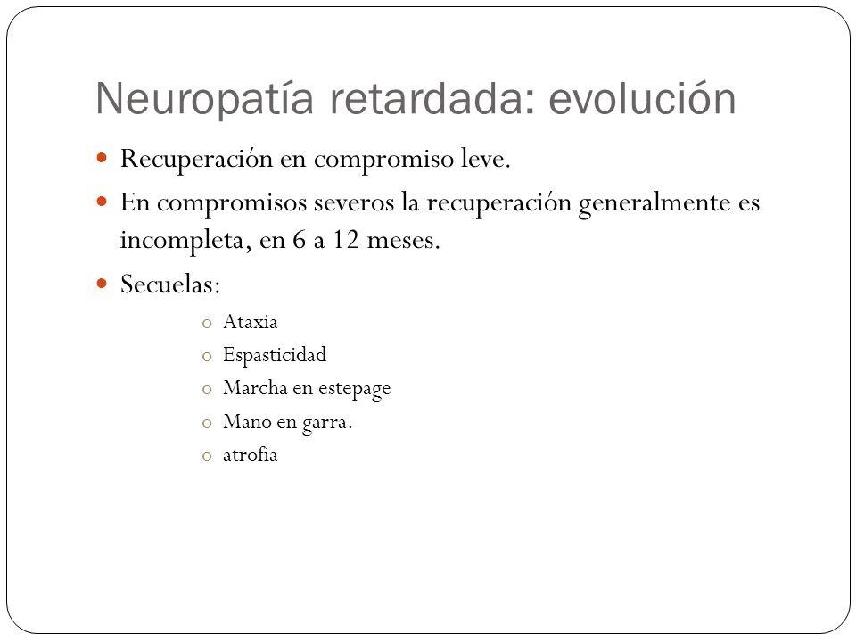 Neuropatía retardada: evolución Recuperación en compromiso leve. En compromisos severos la recuperación generalmente es incompleta, en 6 a 12 meses. S