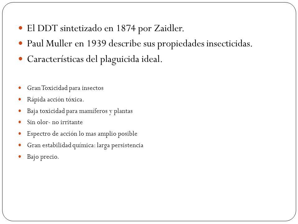 El DDT sintetizado en 1874 por Zaidler. Paul Muller en 1939 describe sus propiedades insecticidas. Características del plaguicida ideal. Gran Toxicida
