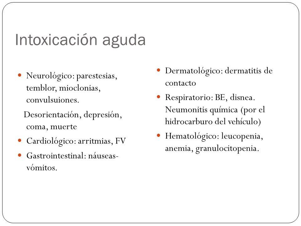 Intoxicación aguda Neurológico: parestesias, temblor, mioclonias, convulsuiones. Desorientación, depresión, coma, muerte Cardiológico: arritmias, FV G