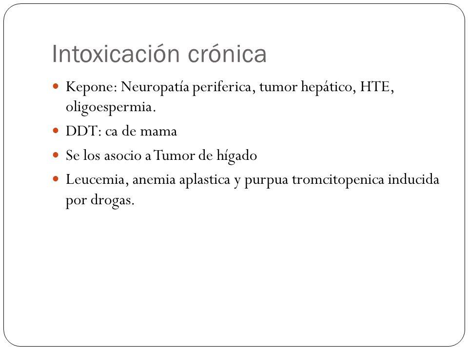 Intoxicación crónica Kepone: Neuropatía periferica, tumor hepático, HTE, oligoespermia. DDT: ca de mama Se los asocio a Tumor de hígado Leucemia, anem