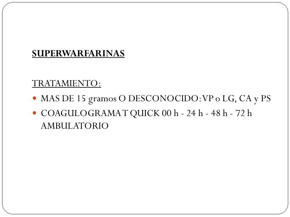 SUPERWARFARINAS TRATAMIENTO: MAS DE 15 gramos O DESCONOCIDO: VP o LG, CA y PS COAGULOGRAMA T QUICK 00 h - 24 h - 48 h - 72 h AMBULATORIO