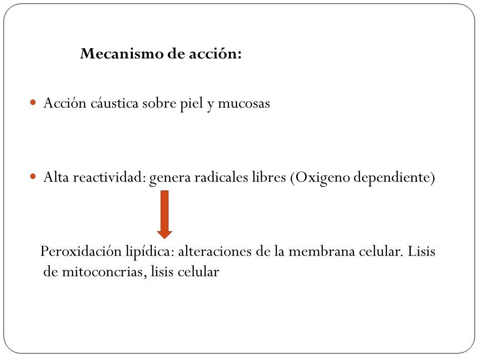 Mecanismo de acción: Acción cáustica sobre piel y mucosas Alta reactividad: genera radicales libres (Oxigeno dependiente) Peroxidación lipídica: alter