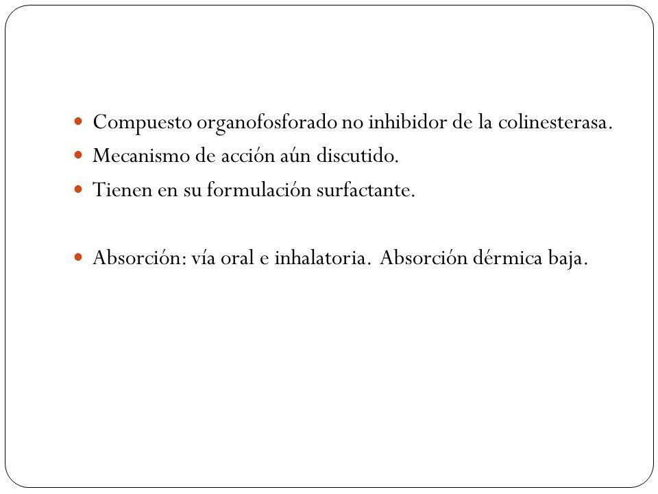 Compuesto organofosforado no inhibidor de la colinesterasa. Mecanismo de acción aún discutido. Tienen en su formulación surfactante. Absorción: vía or