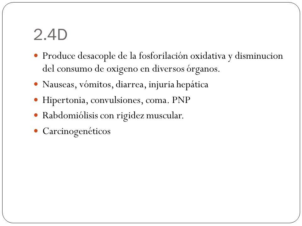 2.4D Produce desacople de la fosforilación oxidativa y disminucion del consumo de oxigeno en diversos órganos. Nauseas, vómitos, diarrea, injuria hepá