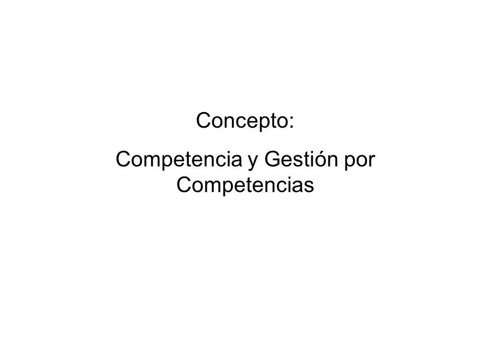 Concepto: Competencia y Gestión por Competencias
